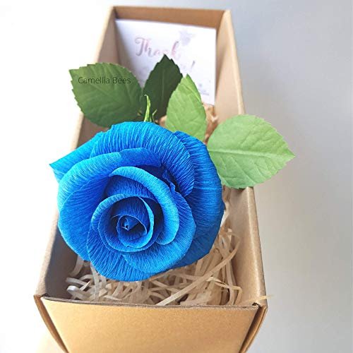 Turquoise Paper Rose, 1st Year Wedding Anniversary Gift, Single Long stem Paper Rose, Perfect Present for Wife or Husband (Turquoise Blue)