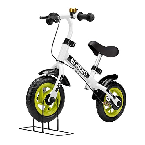 ENKEEO No Pedal Balance Bike 10 inch Cycling Walking Bicycle with Bell and Hand Brake for Ages 2 to 5 Years Old, Adjustable Handlebar and Seat, 110lbs Capacity, White