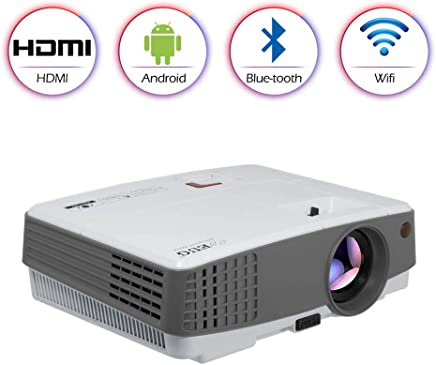 $245 Get LCD Smart Wireless Bluetooth Projector Portable 1080P 720P, Mini LED Home Android Wifi Movie Projector Airplay Miracast HDMI USB VGA AV Audio for iPhone iPad TV Laptop DVD XBOX Gaming Cinema Outdoor