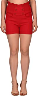 HDE Women's High Waisted Sophisticated Front Button Trendy Vintage Sailor Shorts