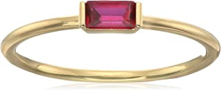 Simple Essentials18K Yellow Gold Plated Sterling Silver Created Ruby Fashion Ring