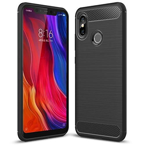 Xiaomi Mi 8 Hülle, Xiaomi Mi 8 Cover, AVIDET Schlagfesten Stoßstangen TPU Case Kratzfeste Schlanke Rutschfeste Handyhülle für Xiaomi Mi 8 (Schwarz)