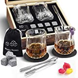 Whiskey Stones and Glasses Gift Set, 2 Bourbon Glasses and 8 Granite Reusable Ice Cubes/Chilling Scotch Rocks, Father's Day Gifts Set for Men with Wooden Box, 2 Coasters, Ice Tongs and Carrying Pouch