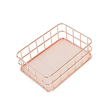 Metal Storage Basket, Wire Storage Bin Stackable Organizer for Laundry, Bathroom, Kitchen, Office, Makeup - Small, Satin (Rose Gold)