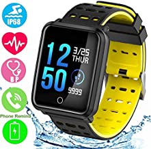 """Smart Watch 1.3"""" Color Screen, Activity Monitor, Blood Pressure, Heart Rate Monitor Pedometer Bracelet, IP68 Waterproof Sports Watch New-Yellow"""