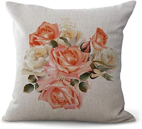 giyiohok Fundas de cojín de estilo nórdico, diseño de flores, color blanco, rosa y rosa, algodón, 18 x 18 cm, 45 x 45 cm, sábana de algodón de 08 a 07