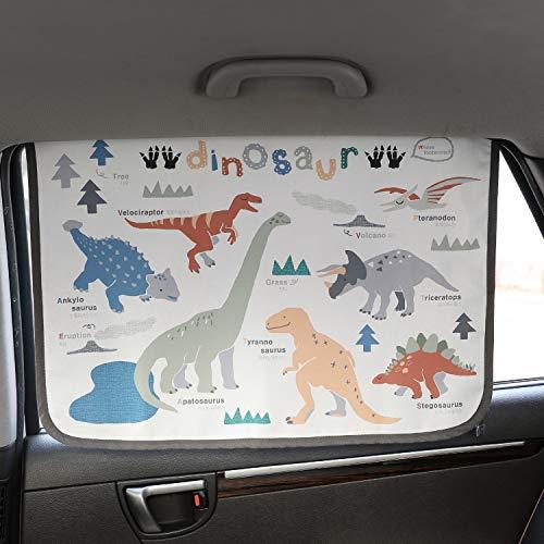 Magnetverschluss Auto Sonnenschutz Vorhang für Seite Fenster für Baby Kinder Kinder - Sonnenschirm Displayschutzfolie - Schützt vor Sonne Blendung und Hitze (Dinosaur)