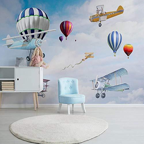 VGFGI Mural 3D Pvc impermeable papel tapiz de vinilo autoadhesivo para habitación de niños dibujos animados avión globo pared niño habitación arte decoración de pared