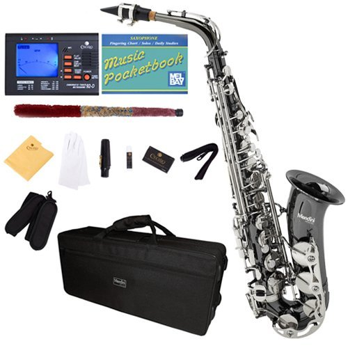 Mendini by Cecilio E-Flat Alto Saxophone, Black Nickel Plated with Nickel Plated Keys + Tuner, Case, Pocketbook - MAS-BNN+92D+PB