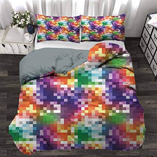 UNOSEKS LANZON Juego de ropa de cama con patrón geométrico diagonal de pata de gallo en colores arco iris sobre fondo gris Juego de ropa de cama multiusos, muy suave, cómodo y elegante multicolor