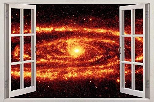 Wandtattoo Poster Tapeten Fire Galaxy Window View Decal WALL STICKER Home Decor Art Mural Space Planet-50x70cm