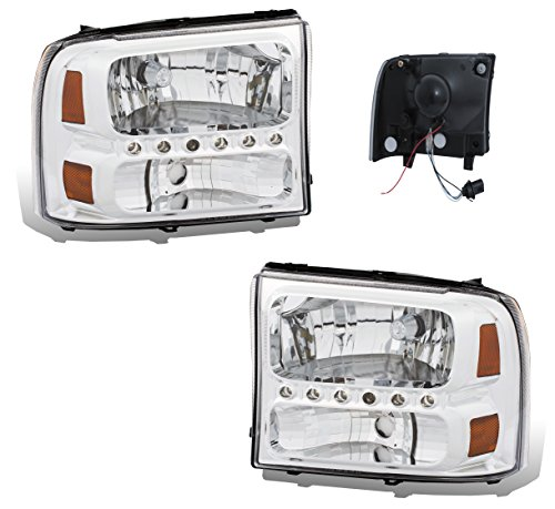 SPPC Chrome Crystal Headlights 1pc Assembly Set For Ford Excursion/Super Duty -...