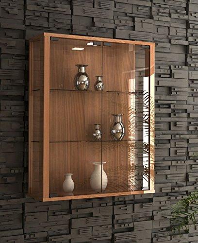 VCM Wandvitrine Sammelvitrine Wand Vitrine Regal Schrank Glas Hängevitrine mit Beleuchtung kern-nussbaum