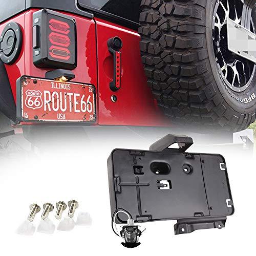 A ABIGAIL Black Rear License Plate Holder Frames Plastic Bracket with LED Light Fits for 2007-2016 Jeep Wrangler JK License Plates Mounting Bracket