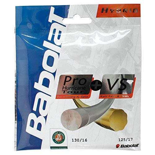 Babolat Pro Hurricane Tour + VS Hybrid (Poly/Natural Gut Combo) Tennis Racquet String Sets 2-Pack (2 Sets Per Order) - Best for Comfort, Control, and Durability