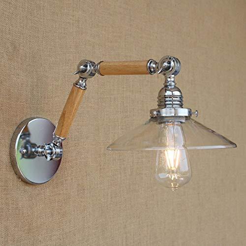 Lámpara De Pared Ajustable De Madera Con Brazo Oscilante Vintage/Blanco E27 Luz Moderna Led Decorativa Para Sala De Trabajo Dormitorio Sala De Estar Bar Un Vidrio Transparente