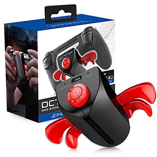 Accesorio De Botón Trasero PS4, Strike Pack FPS Dominator Adaptador De Controladores Mando PS4 Trasero Extendido Botón Trasero De Fijación Tecla Joystick Mod Accesorios PS4,Black Red