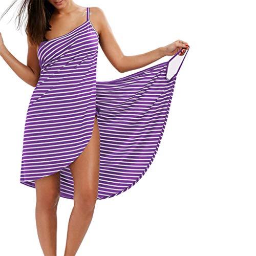 Toalla de baño Albornoz Vestido de Playa a Rayas Abrigo Mujer Toallas de baño Ropa de Honda Vestido de Playa de natación de Vacaciones