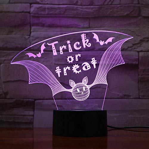 Trick Or Treat Night Light 3D Desk Table Illusion Decoration Lamp Holiday Birthday Halloween Gift