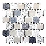 Moonbeam tree Kitchen Backsplash Tiles for Peel and Stick 12' x 12' Self Adhesive Removable Backsplash 3D Marble Tiles for Kitchen & Bathroom & Laundry Room (5 Sheets, Off-White)