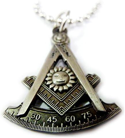 Past Master Lodge Masonic Freemason Tools Pendant Necklace w Chain product image