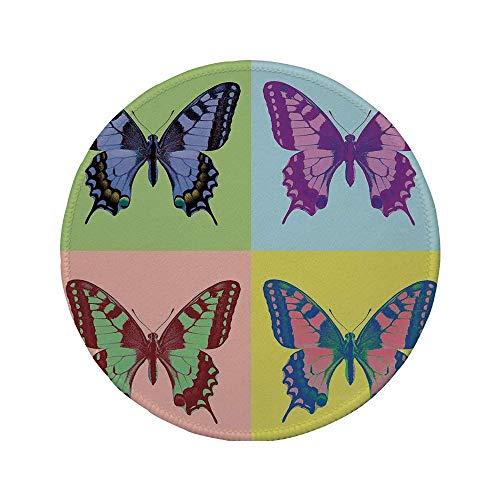 Rutschfreies Gummi-rundes Mauspad Schmetterlingsdekorationen Pop-Art-Schwalbenschwanzpavillons Wilde transzendente Energien wundersamer Flügel Multi 7.9