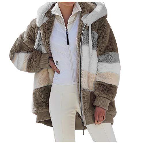 Chaqueta de piel sintética para mujer Chaqueta de lana a cuadros Abrigo de invierno Prendas de vestir Chaqueta lanuda Abrigo acolchado de felpa en contraste Ajuste holgado Cierre de cremallera Abrigo