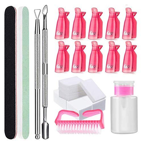 Nagellack Gel Entferner Tools Kit,Nail Polish Remover Tool Kit, 500 Pcs Nagel Wischen Baumwolle Pads,10 Pcs Clip Nagellackentferner,2 Nagelfeile,1 Nagelhaut-Trimmer,1 Kürette,Pinsel,1 Spenderflasche