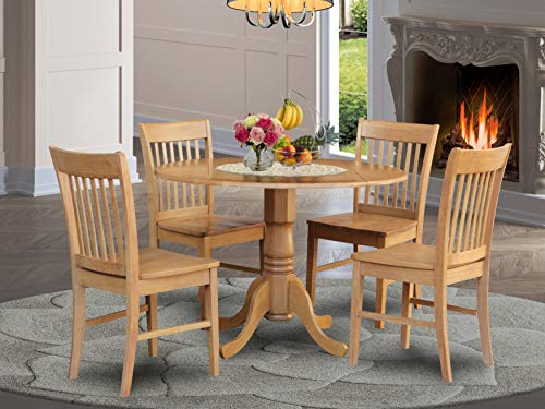 East West Furniture 5 Pc small Kitchen Table set-round Table and 4 Dining Chairs.