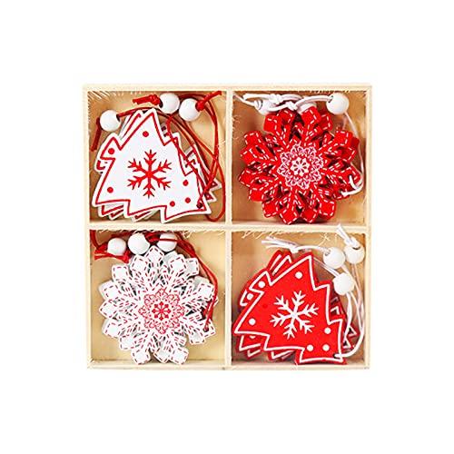 Creativo dipinto in legno piccolo ciondolo decorazione per albero di Natale fiocco di neve, albero di Natale in legno decorazioni da appendere, per la decorazione dell'albero di Natale (Style 7)