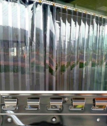 300x2mm PVC Lamellen Streifen Vorhang H2,50 x B1,75 m Überlappung 36% fertig vormontiert mit Wandschiene+Halteklammern