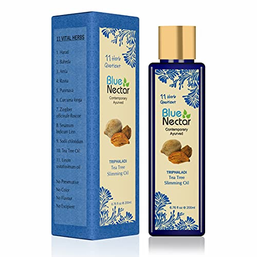 Blue Nectar Ayurvedic Slimming And Anti Cellulite Massage Oil For Slim And Tone Skin With Tea Tree Essential Oil And 11 Vital Herbs (200 Ml, 6.76 Fl Oz)