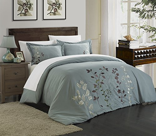 Chic Home DS2940-WT Kaylee 3 Piece Duvet Cover Set Embroidered Floral Design Backing Zipper Closure Bedding-Decorative Pillow Shams Included, Queen, Sage