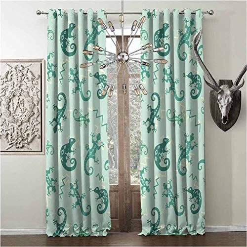 Tapesly 99% Blackout Curtains, Reptiles Noise reducing, Thermal Insulated soundproof, W108 x L84 Inch, Green Mint, Exotic Lizards and Chameleons Leaping Nature Animal Art Nursery,
