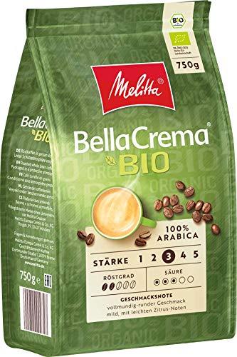 Melitta Ganze Kaffeebohnen, 100% Bio und Arabica, weicher ausbalancierter Körper, Stärke 3, BellaCrema Bio, 1er Pack (1 x 750 g)