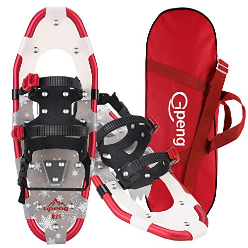 Gpeng Snowshoes for Men Women Youth Kids, Lightweight Aluminum Alloy All Terrain Snow Shoes with Adjustable Ratchet Bindings with Carrying Tote Bag,14
