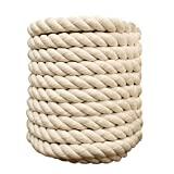 1/2 Inch x 100 Feet Natural Twisted Cotton Rope Strong Thick Soft Rope for Sports, Decor Crafts, Macrame,Camping, Wedding Ropes