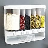 Dispensador de alimentos secos montados en la pared: cubo de arroz de cuadrícula de multifunción, control gratuito de la salida de cereales, caja de almacenamiento de frutas de alimentos secos para el