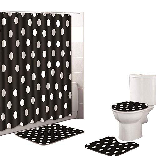 4 Sets of Artistic Design Theme Shower Curtain and Bathroom Cushion Cover, Black and White Polka dot Decoration Waterproof Non-Slip Bathroom Curtain and Hooked Carpet, Simple Style and