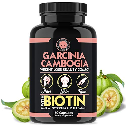 Garcinia Cambogia Weight Loss Beauty Combo, Infused w Biotin, Calcium, Potassium & Chromium, Grow + Hydrate Hair, Strengthen + Thicken Nails, Clear & Nourish Skin – All-Natural Diet Pills (1-Bottle)