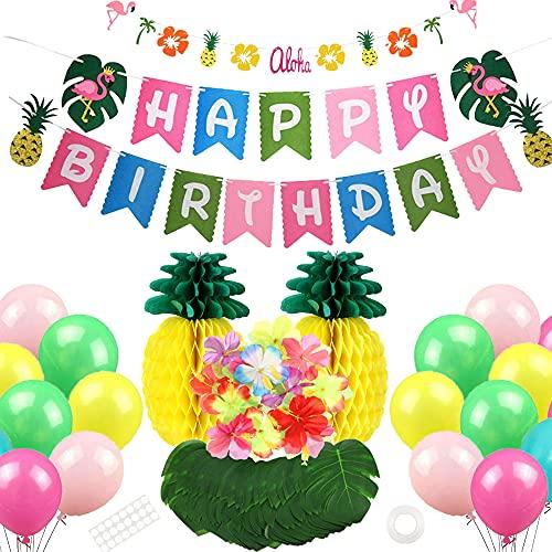 Decorazione di Compleanno Hawaiana,Ghirlanda Fenicottero,Hawaiian Tropical Decoration,Ananas con Buon Compleanno,Hawaiana Festa