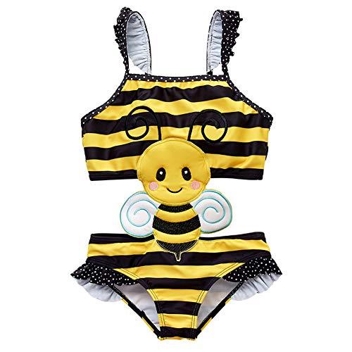 Bili Badeanzug Mädchen Schwimmanzug Baby Tankini Kinder Bikini Einteiler Schwimmbekleidung Swimwear Strandbadeanzüge Cartoon(Biene,8T)