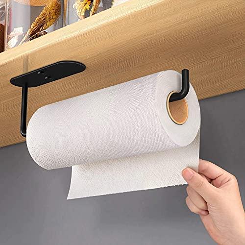 Küchenrollenhalter ohne Bohren, Dvifzu Küchenpapierhalter Edelstahl , Küche Rollenhalter Wandmontage, Papierrollenhalter für Schutz von Schränken und Wänden (Schwarz)