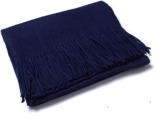 وشاح من الكشمير الصناعي شال للنساء بلون سادة إكسسوارات شرابة في الهواء الطلق دافئ في الشتاء والأوشحة النسائية 200×70 سم، أزرق
