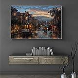 GJQFJBS Leinwanddruck Landschaft Bild Nacht Stadt Wandkunst Poster Wohnzimmer Dekoration Gemälde Wandbild A6 70X100cm