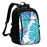 asfg Resistente a Las Manchas Leaf Blue Multifunctional Personalized Customized USB Backpack, Student School Outdoor Backpack,Travel Bag Laptop Bookbags Business Daypack.