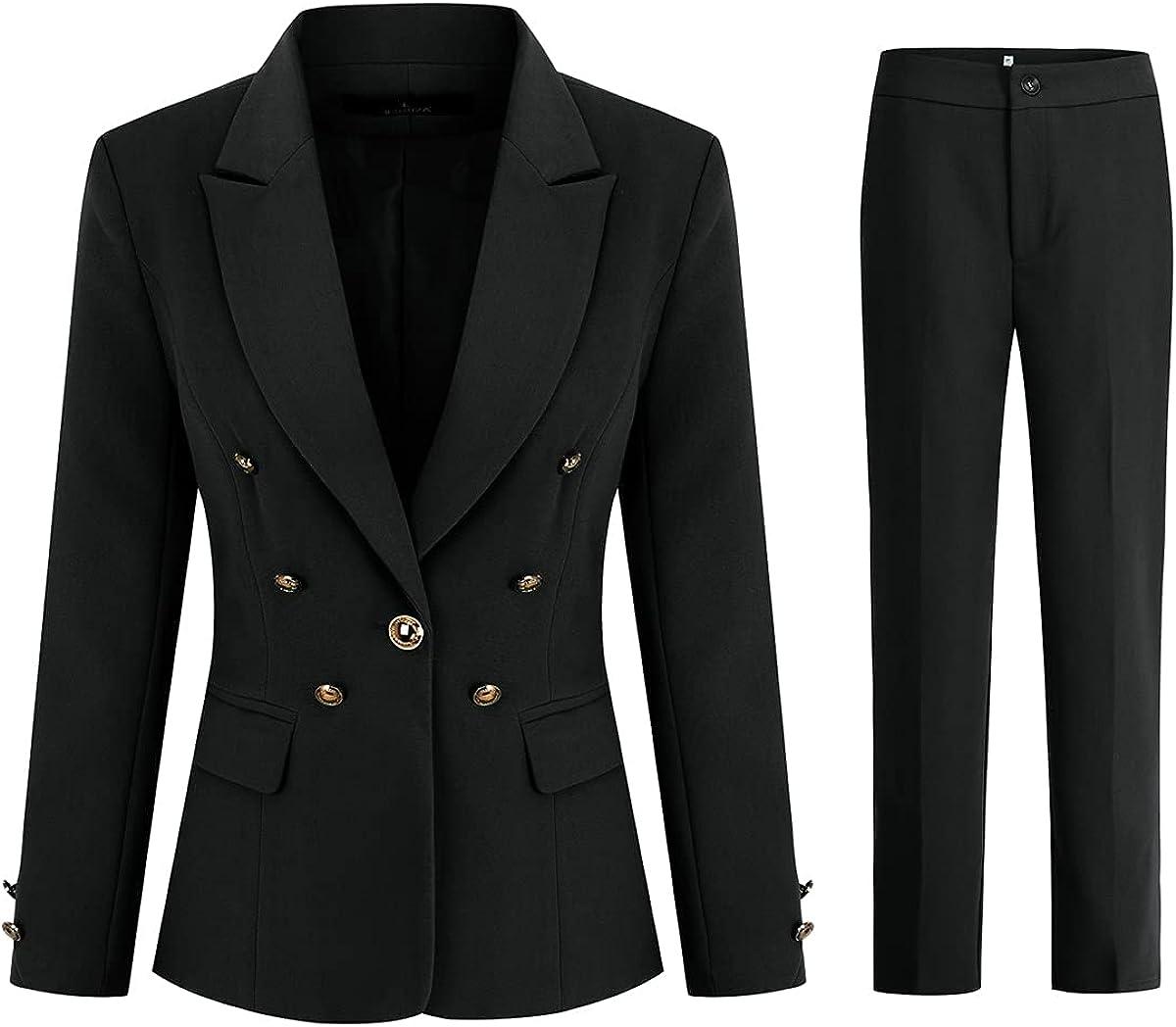 Women's 2 Pieces Vintage Office Lady Suit Set One Button Blazer and Suit Pants