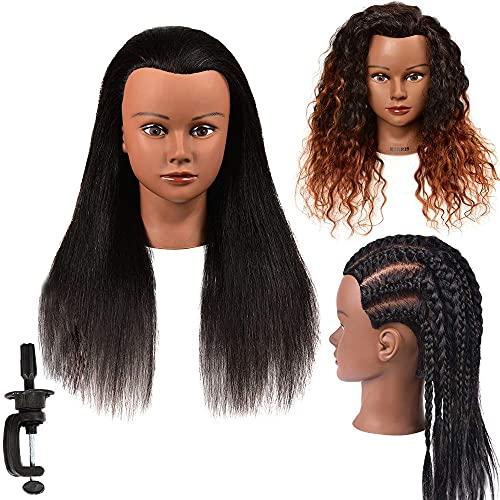 Mannequin Head Hair 100% Real Hair Mannequin Head Hairdresser Practice Braiding StylingTraining Head Manikin Cosmetology Doll Head Afro Mannequin Head for Practicing Hairstyling Manikin Head