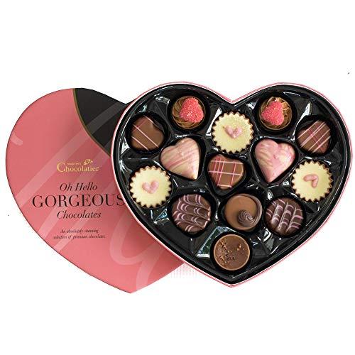 Martins Chocolatier Chocolats de Luxe - Dans une Boîte en Forme de Coeur - Coffret Cadeau de Chocolat Luxeuex (Rose)