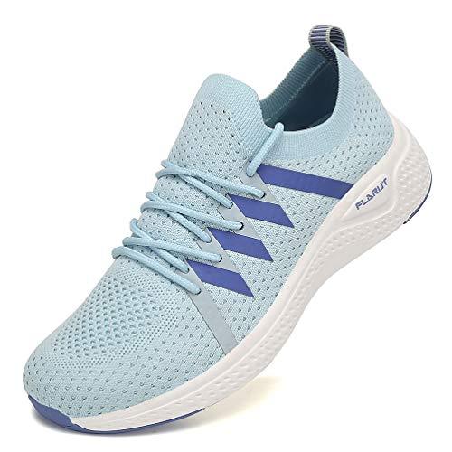 FLARUT Turnschuhe Damen Leichtgewichts Laufschuhe Atmungsaktiv Sportschuhe Straßenlaufschuhe Freizeit Schuhe für Outdoor Fitness Gym Sneaker Blau 39